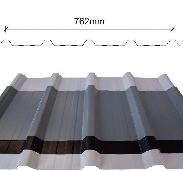 Deck (5-rib) roof sheeting profile with span dimensions