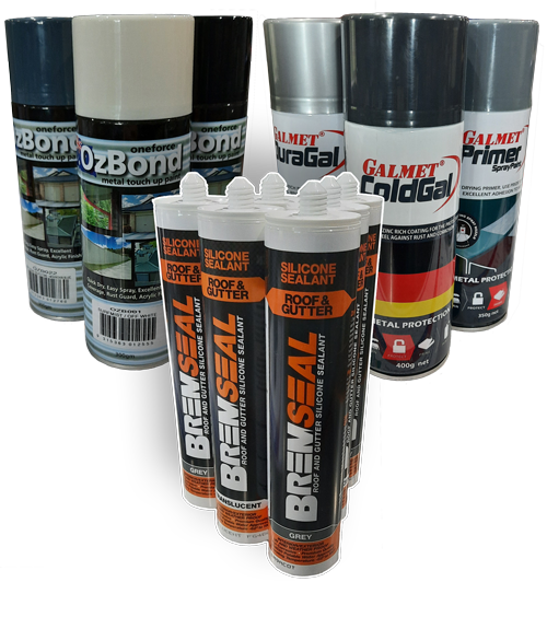 Roofing metal touch-up paint, Gal sprays and roof and gutter silicon sealants