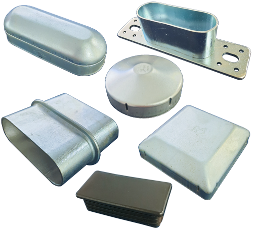 Steel supplies accessories - post caps (gal and plastic), cattle rail joiners, caps and brackets